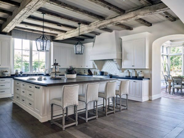 Painted Plank Board With Rustic Wooden Beams Kitchen Ceiling Ideas
