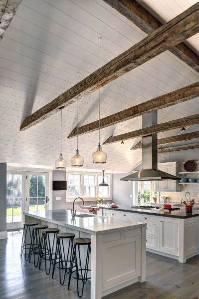 Shiplap With Wood Beam Rafters Kitchen Ceiling Ideas