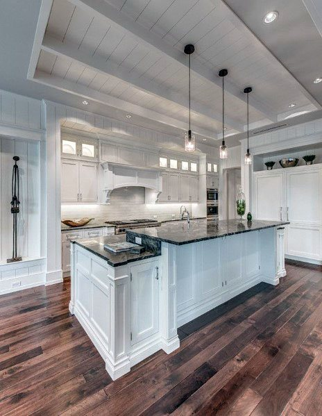 Traditional Kitchens White Painted Shiplap Ceilings