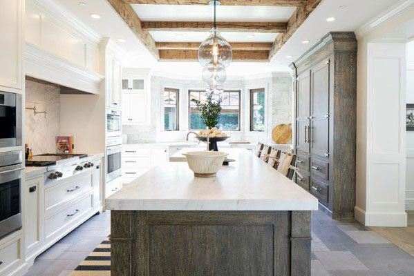 Trey Ceiling With Boxed In Wood Beams Kitchen Ceiling Ideas
