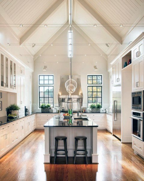 Vaulted Ceiling Kitchen Design Ideas With Hardwood Flooring
