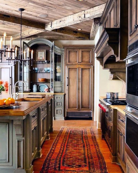 Vintage Cabin Traditional Kitchen Ceiling Ideas