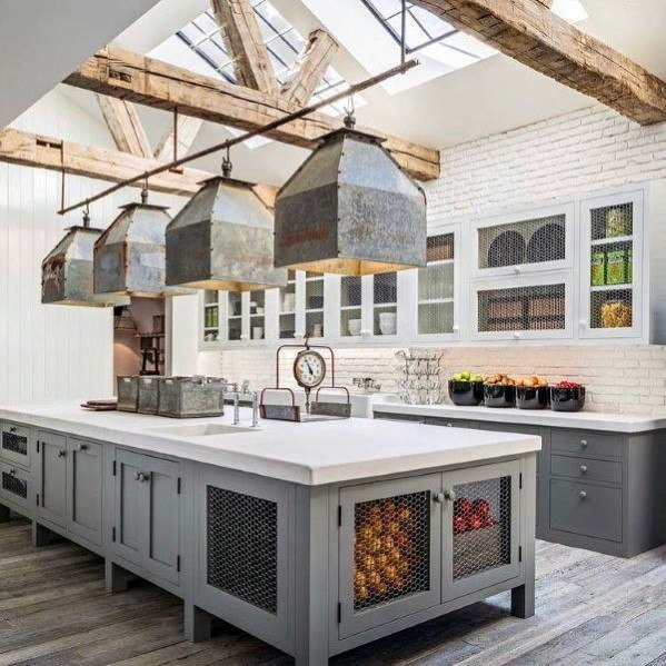 Wood Beams With Skylights Grey And White Kitchen Ceiling Ideas