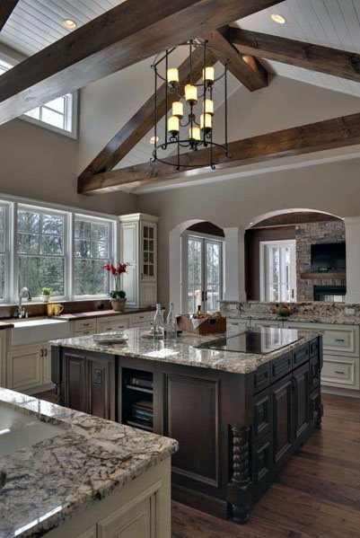 Wooden Rafters Traditional Kitchen Ceiling Ideas