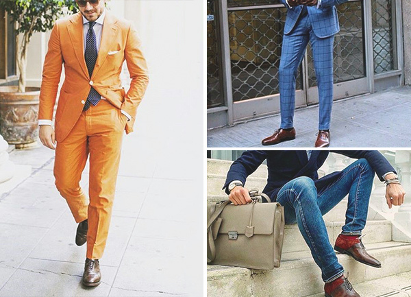 Brown Shoes With Orange Suit Male Fashion Style
